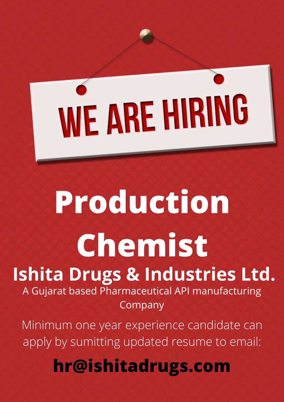 Opening For Production Chemist At Ishita Drugs Limited