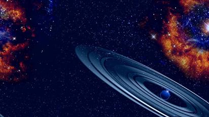 ilustração de um planeta gigante com anéis