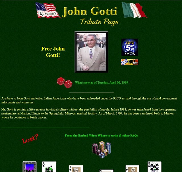 Screenshot of the 'John Gotti Tribute Page' taken on 28 April 1999. Graphic: Melissa Angelini / Archve.org