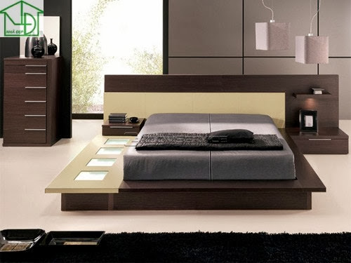 Giường ngủ hiện đại với hệ thống đánh đèn