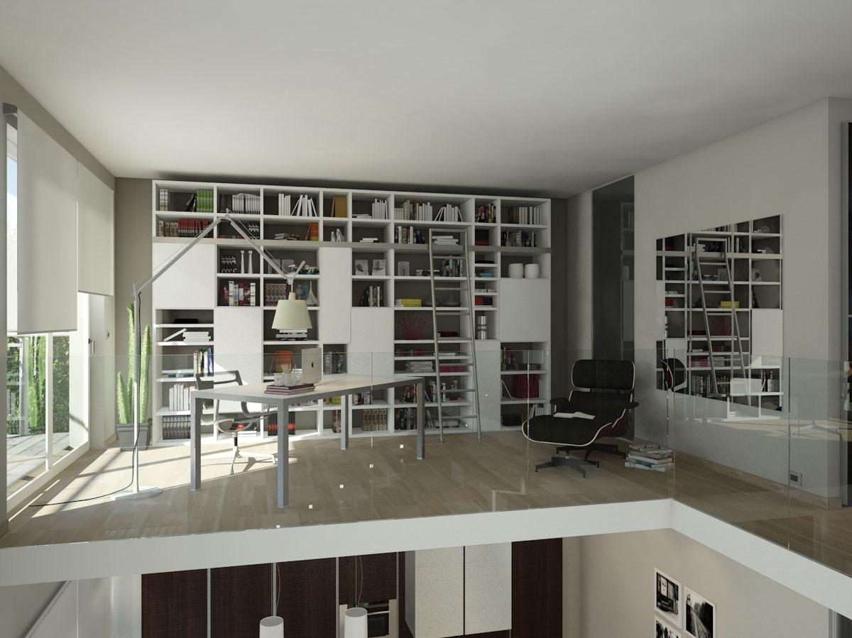 progettazione di libreria in un soppalco a Bergamo.jpg