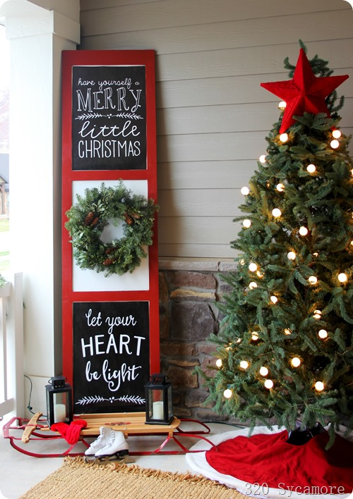 christmas sign on porch
