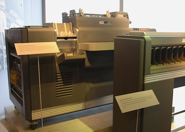IBM 403 accounting machine, with Type 82 card sorter at right.4 These machines are on display at the Computer History Museum.