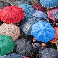 Un tetto di ombrelli di