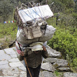 Porter hauling a load to a remove village