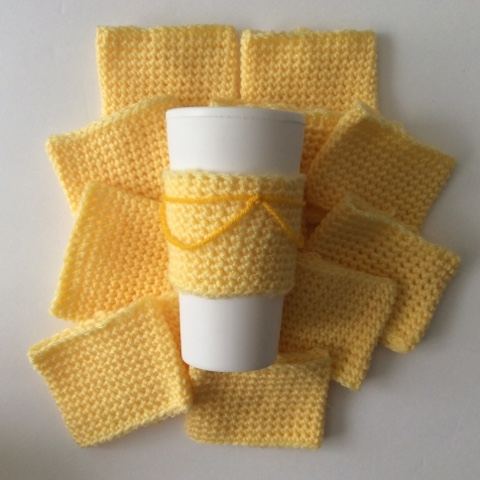 crochet cup cozy beauty and the beast theme belle's gown yellow yarn disney
