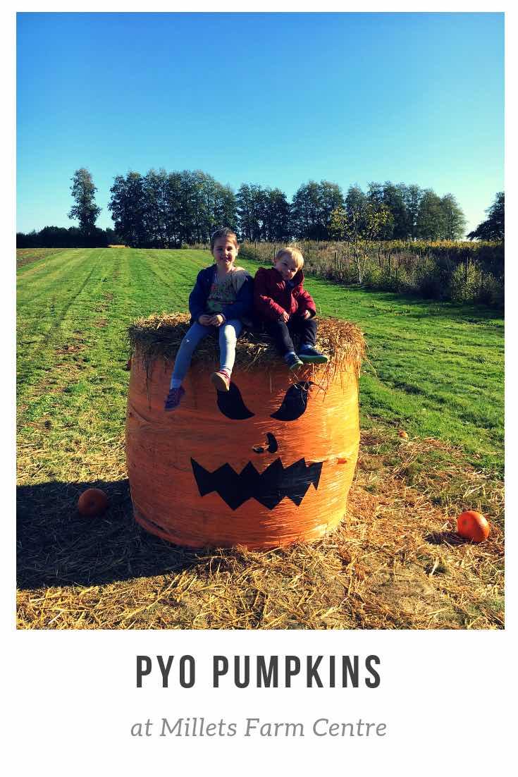 Pumpkin round hay bale