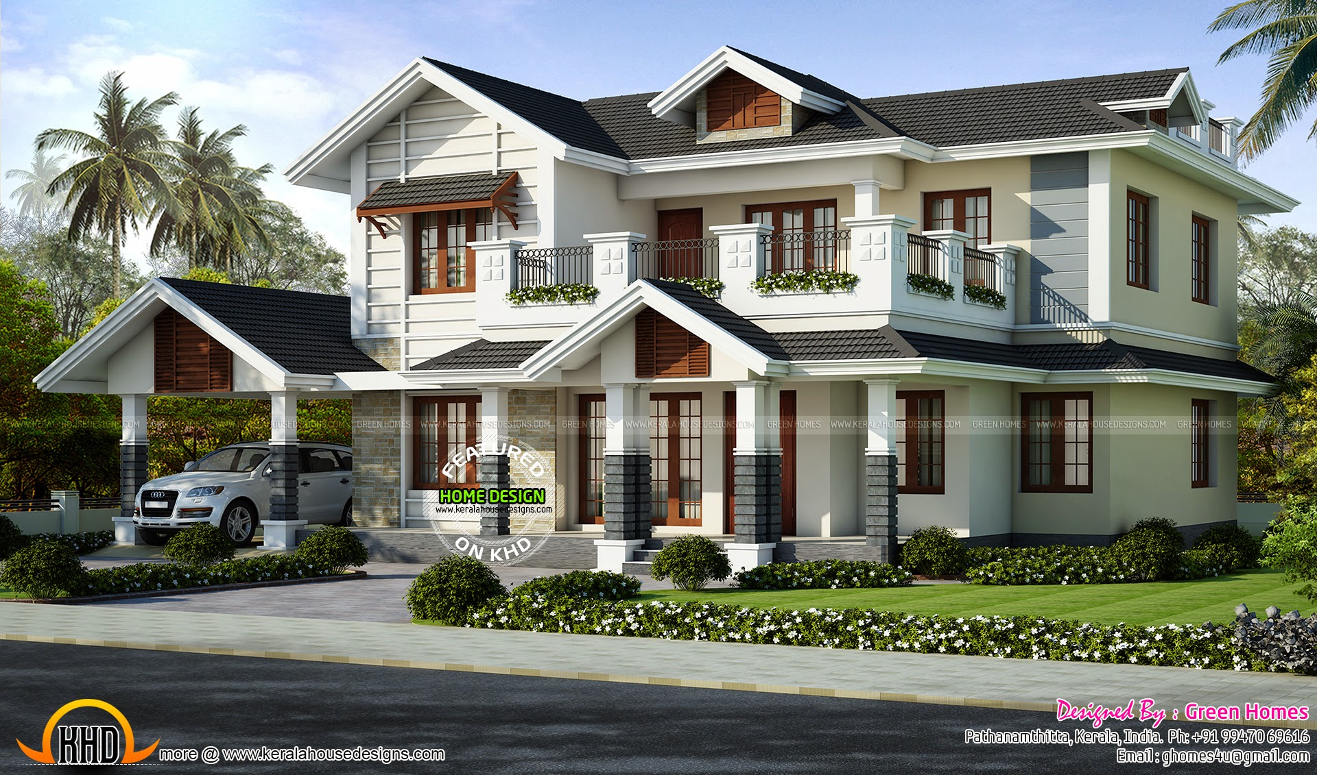 2446 Sq Ft Villa Exterior Kerala Home Design And Floor Plans