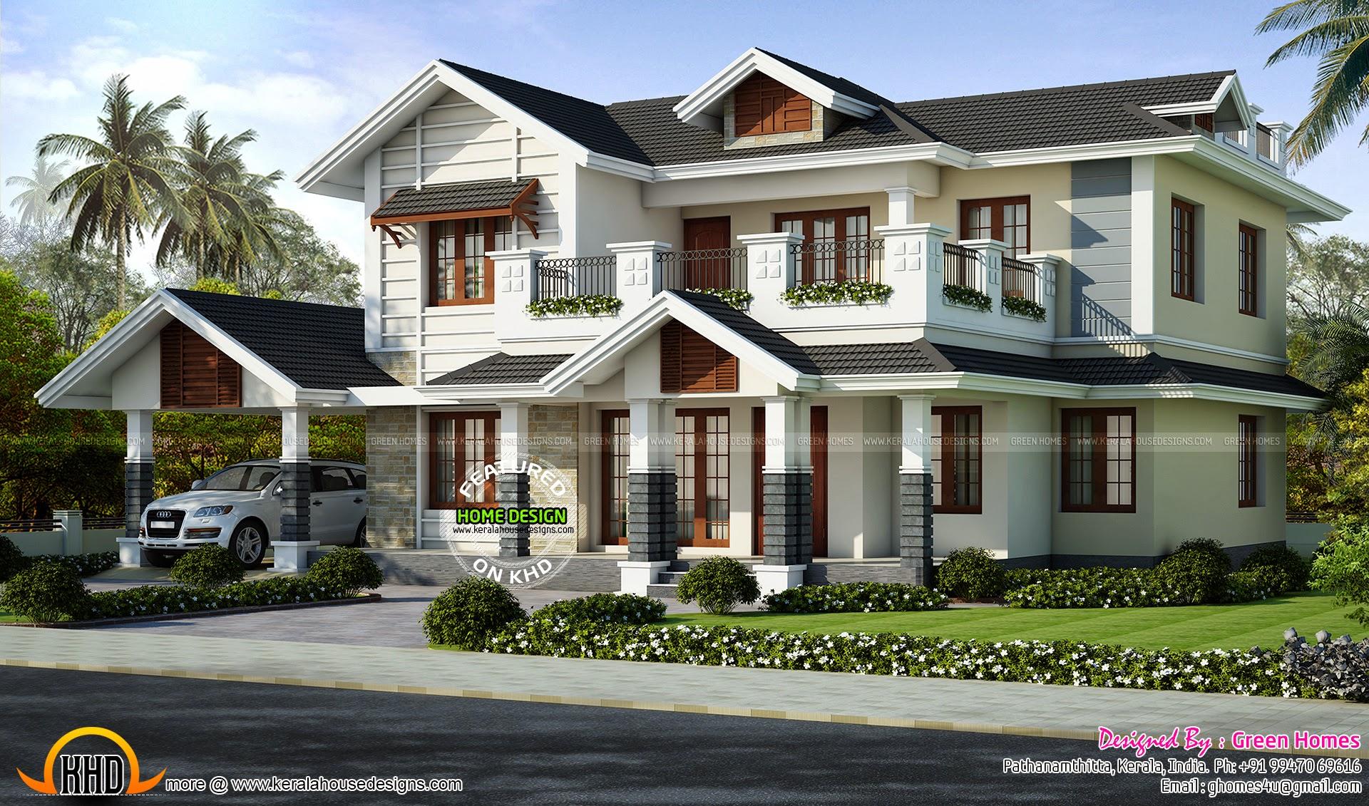 2446 sq ft villa exterior kerala home design and floor plans Kerala style house exterior designs