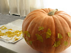 What a great idea—using real leaves as templates! This pumpkin isn't just for Halloween—what about an autumnal dinner party?