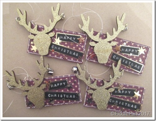 Stags Head Wooden Christmas Tag