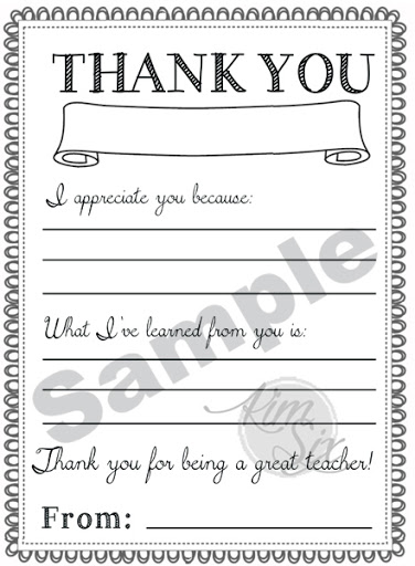 image regarding Teacher Thank You Printable identified as Trainer Appreciation Working day Printable Thank Oneself Notes - The Kim