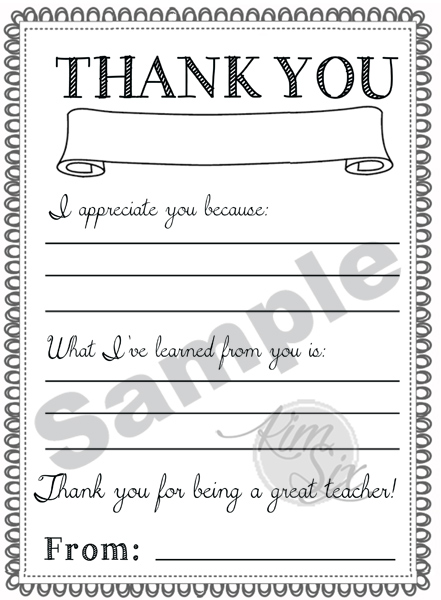 Thank You Teacher Appreciation Note
