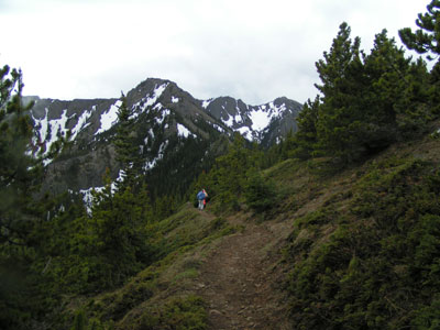 Heading back down the hill