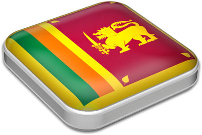 Flag of Sri Lanka with metallic square frame