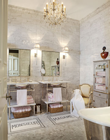 In This Stylish Eye Catching Bathroom, Not Only Do The Pedestal Sinks Have  Large Aprons To Compensate For The Lack Of Counter Space, But Have A Lower  Shelf ...