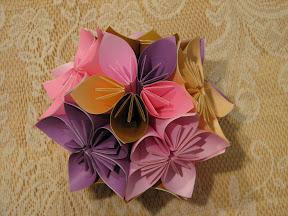"""Kusudama of flowers: a traditional Japanese design. Instructions in """"Kusudama: Ball Origami"""" by Makoto Yamaguchi."""