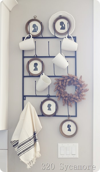 mug rack with silhouettes
