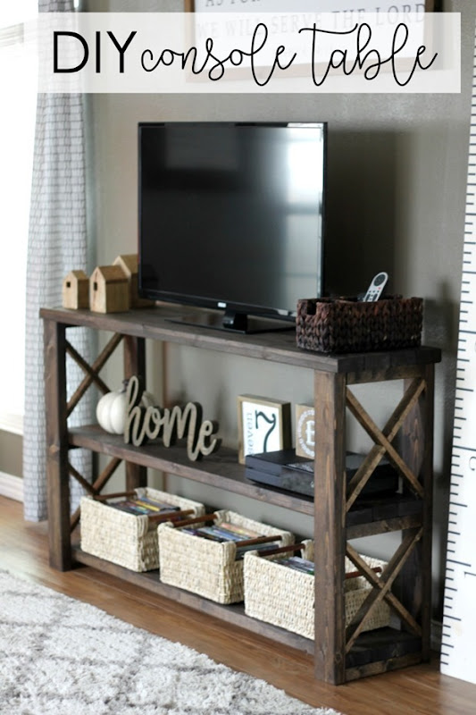 DIY Console Table by GingerSnapCrafts.com #LifeStorageDIY #DIY