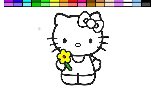 Learn Colors With Hello Kitty And Flowers Coloring Page Video Learning Game  For Kids Children Baby