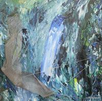 """Wasser"", Acryl auf Holz, Metallgitter, Draht, 50x50, 2008"