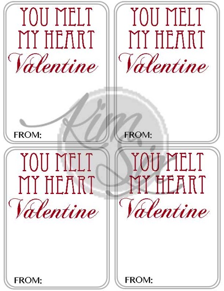You melt my heart printable Valentine