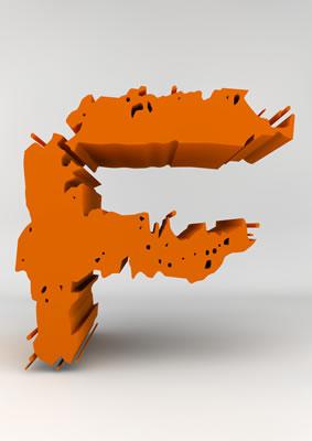lettre 3D chiffron de craie orange - F - images libres de droit