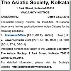 Asiatic Society Kolkata Notice 2018 www.indgovtjobs.in
