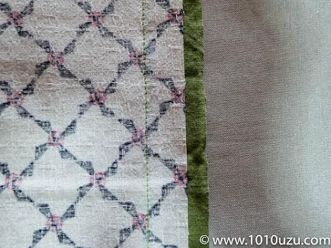 表側の布を切り返し部分で縫う