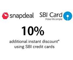 Snapdeal SBI Cards Offer- Get 10% Instant Discount Using SBI Cards