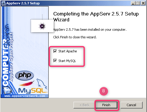 صورة توضيحية لكيفية تثبيت السيرفر المحلي AppServ على جهازك