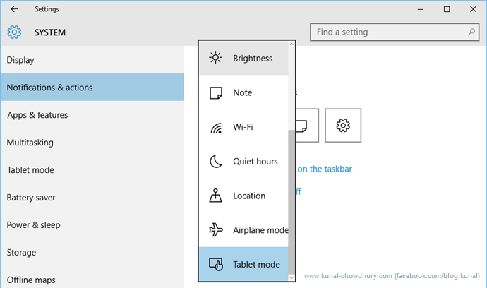 Customize Quick Actions in Windows 10 (www.kunal-chowdhury.com)