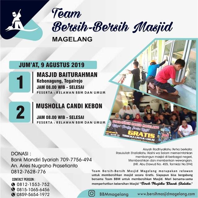 Bergabunglah dalam Kegiatan Bersih-Bersih Masjid Baiturrahman dan Musholla Candi Kebon, Kebonagung, Tegalrejo, Kabupaten Magelang