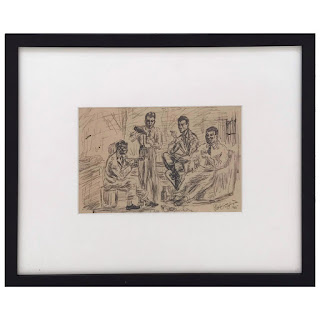 Patrick Stigliani Signed 'The Drinkers' Ink Drawing