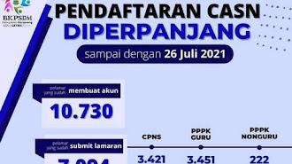 Kabar Baik : Pendaftaran CPNS - PPPK di Perpanjang Sepekan, BKPSDM: 7.094 Pelamar Sudah Submit