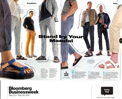 Men's sandals fashion spread in Businessweek, May 23-29, 2016, p. 68-69