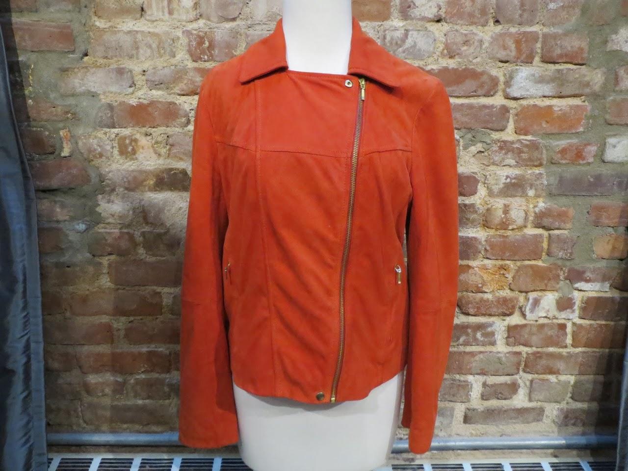 Jaeger Suede Moto Jacket in Orange