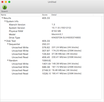 XbenchでのKingston SSD UV400のベンチマーク