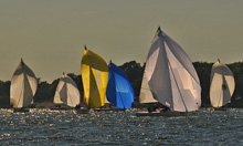 J/80 one-design sailboats- sailing on Chesapeake Bay