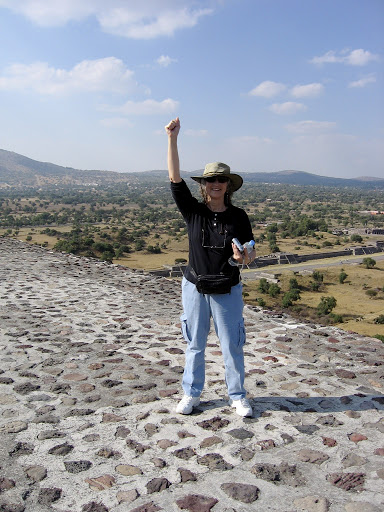 Lily Iona MacKenzie - Having just climbed to the top of Pyramid of the Sun, Mexico