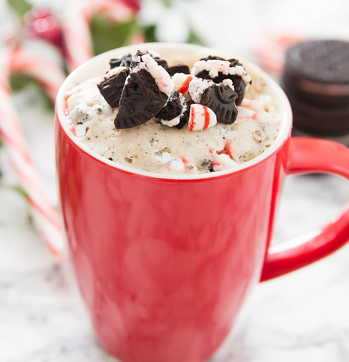 photo of a Candy Cane Cookies and Cream Mug Cake