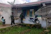 Satgas Pamtas RI-RDTL Sektor Barat Yonarmed 6/3 Kostrad Laksanakan Fogging di Desa Eban