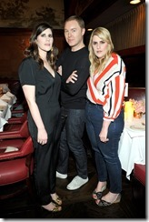 HOLLYWOOD, CA - MARCH 30:  Coach Creative Director Stuart Vevers (C) and Rodarte Co-Founders Laura Mulleavy (L) and Kate Mulleavy attend the Coach & Rodarte celebration for their Spring 2017 Collaboration at Musso & Frank on March 30, 2017 in Hollywood, California  (Photo by Donato Sardella/Getty Images for Coach)