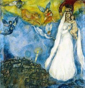 Marc Chagall. La Virgen de la aldea, 1938-1942 Óleo sobre lienzo, 102,5 x 98 cm. Museo Thyssen-Bornemisza, Madrid