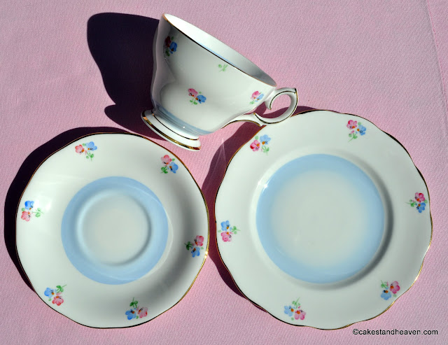 Blue Wash Teacup Trio with Ditsy Pink & Blue Flowers