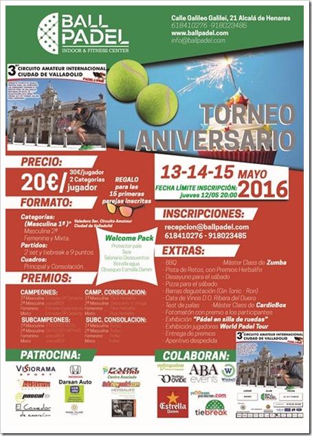 Torneo I Aniversario Ball Padel Club Alcalá de Henares 13-14-15 mayo 2016.