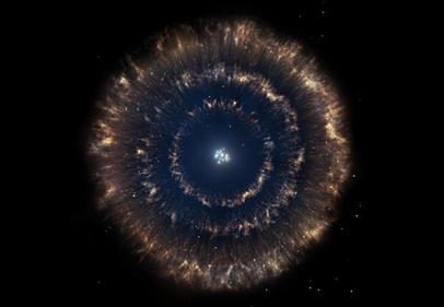ilustração de bolha tripla num aglomerado estelar
