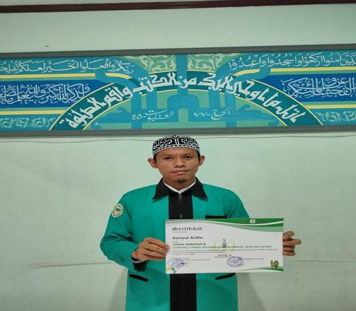 Samsul Arifin Juara harapan 2 dalam PIONIR  IX PTKIN Se-Indonesia di Malang Cabang Lomba MTQ Tilawah Putera