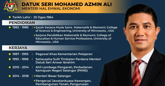 Biodata Menteri Hal Ehwal Ekonomi Datuk Seri Mohamed Azmin Ali Inilah Realiti