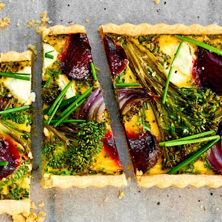 Beetroot, Broccoli, Goat's Cheese And Chive Tart.